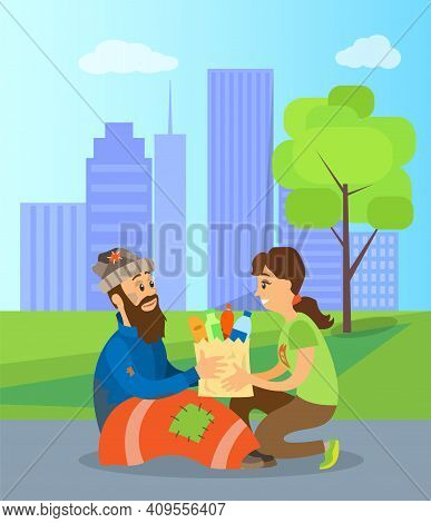 Volunteer Helping Homeless Person With Food And Drinks. Vector Social Worker And Poor Man, Beggar Or