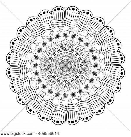 Contour Mandala With Zen Patterns. Fantasy Doodle Antistress Coloring Page Vector Illustration. Ethn