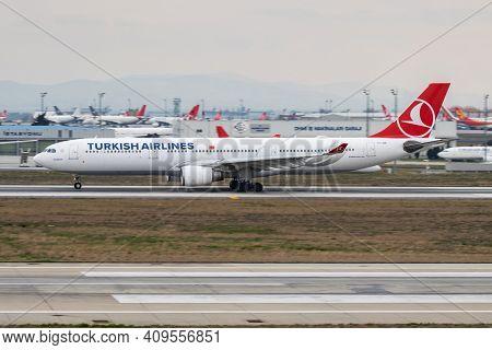 Istanbul, Turkey - March 27, 2019: Turkish Airlines Airbus A330-300 Tc-joe Passenger Plane Departure
