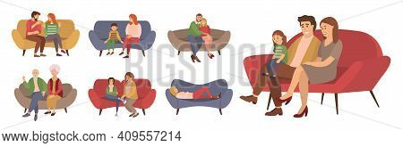 People On The Couch. Man, Woman And Couple Character In Different Poses On The Sofa. Vector Cartoon