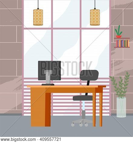 Modern Home Workplace Flat. Office Chair And Office Desk With Stack Of Books In Cozy Room Interior.