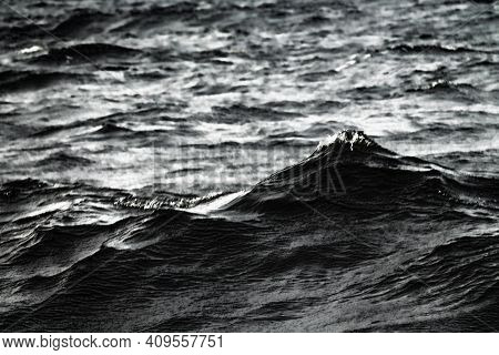 Dark Autumn Stormy Sea In Windy Weather. Autumn Gloomy Depressive State. Weather Disasters Of The Co