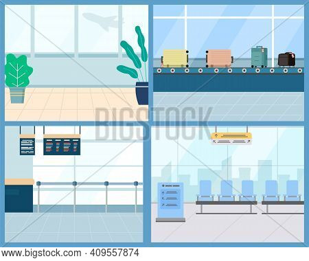 Set Of Airport Concept Elements. Passenger Terminal And Waiting Rooml, Carousel With Suitcases, Pass