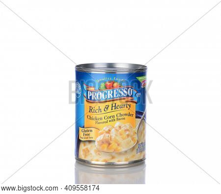 IRVINE, CA - January 05, 2014: A can of Progresso Rich and Hearty Chicken Corn Chowder. Progresso, owned by General Mills has been making soups for over 90 years.