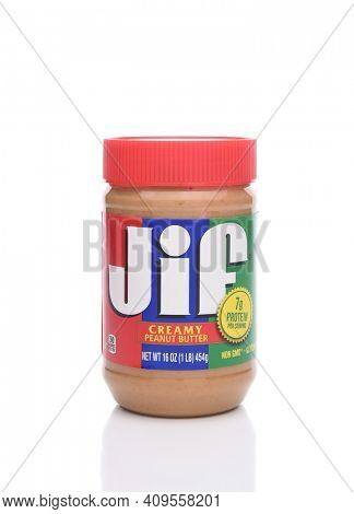 IRVINE, CALIFORNIA - JANUARY 22, 2017: Jif Creamy Peanut Butter. From the J.M. Smucker Company, introducen in 1958 it is the leading brand in the US, since 1981.
