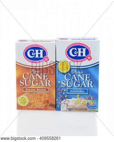 IRVINE, CALIFORNIA - DECEMBER 12, 2014: Two Boxes of C and H Sugar.  a variety of cane sugar products, including white granulated, brown, superfine, powdered and organic.