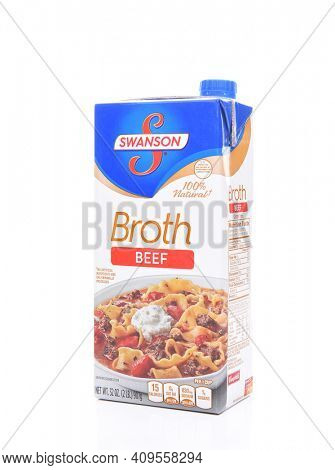 IRVINE, CALIFORNIA - FEBRUARY 7, 2017: Swanson Beef Broth. The Swanson broth brand is currently owned by the Campbells Soup Company.