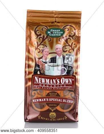 IRVINE, CA - January 05, 2014: A 10 oz bag of Newman's Own Green Mountain Coffee. The company gives 100% of the after-tax profits from the sale of its products to Newman's Own Foundation.
