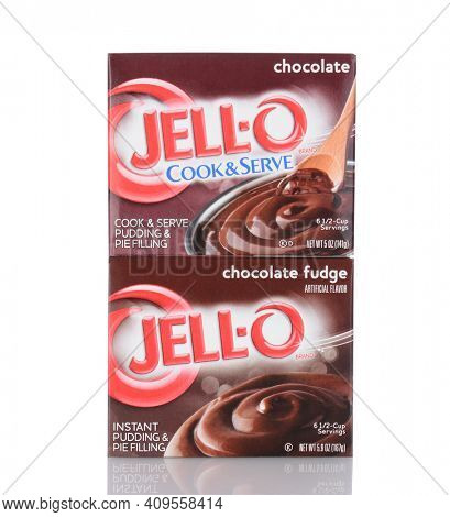 IRVINE, CA - January 05, 2014: Two boxes Jell-O Chocolate Pudding and Pie Filling.  Jell-O a brand of Kraft Foods produces a variety of gelatin desserts and puddings.