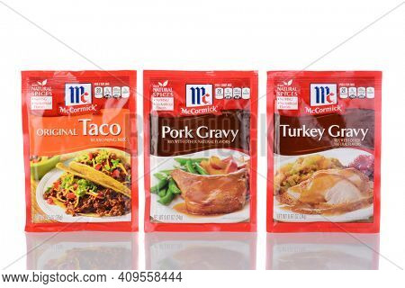 IRVINE, CA - January 05, 2014: Three McCormick Seasoning Packets. Founded in 1889 and headquartered in Maryland, McCormick has over 10,000 employees worldwide.