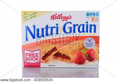IRVINE, CA - January 29, 2014: A box of Nutri-Grain Strawberry Cereal Bars. Made by Kelloggs the bars became popular in the 1990s as a on-the-go food.