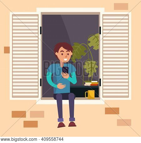 Male Character Resting At Home. Man Is Chatting On Smartphone On The Balcony Of His House. Person St