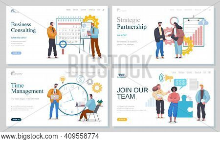 Business Consulting, Strategic Partnership, Time Management, Join Our Team, Landing Page Of Website,