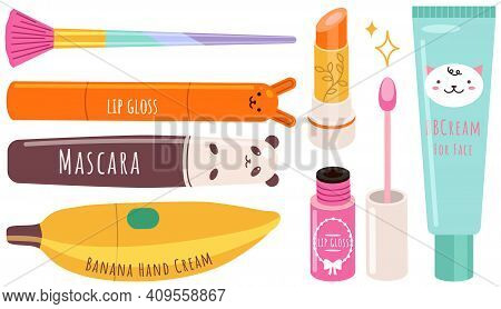 Vector Beauty Set. Makeup Cosmetics Tools And Korean Cosmetics. Beauty Products Collection In Funny