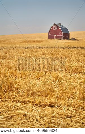 Wheat Stubble And Red Barn Vertical. A Faded, Red Barn On A Hill In The Palouse. Washington State, U