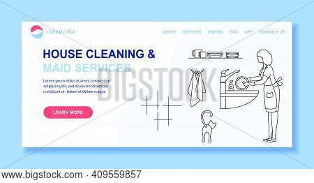 Vector Illustration Apartment House Cleaning Maid Service Woman Washing Dishes Crockery Professional