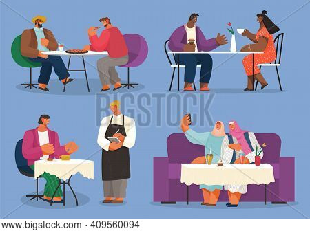 Friends Meeting, Collection Of Illustrations, Different Races People In Cafe Or Restaurant, Two Men