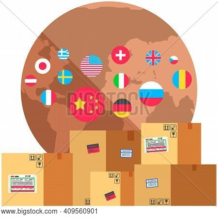 Earth With Flags Of World. Planet Surrounded By National Symbols Of Countries. Flags Of Different Co