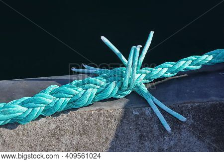 Detailed Close Up Detail Of Ropes And Cordage In The Rigging Of An Old Wooden Vintage Sailboat.