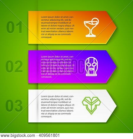 Set Line Margarita Cocktail, Mexican Wrestler And Poncho. Business Infographic Template. Vector
