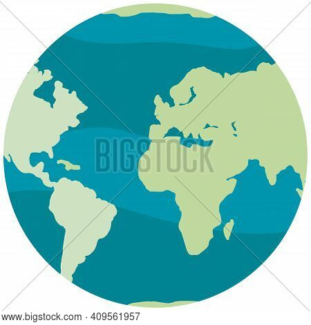 Planet Isolated On White Background. Land With Green Continents And Blue Waters. World Globe Vector