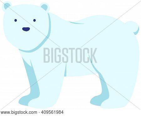 Walking Or Standing Polar Bear In Arctic, Side View. Wild Animal Living In Antarctica Vector Illustr