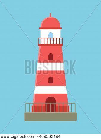 Red Lighthouse On Ocean Landscape, Lighthouse Park Flat Illustration. Construction With Big Floodlig