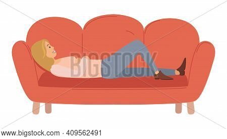 Woman Lying On The Sofa. Happy Smile Girl Relaxing. Relax On Couch And Dream. Mother Resting. Home L