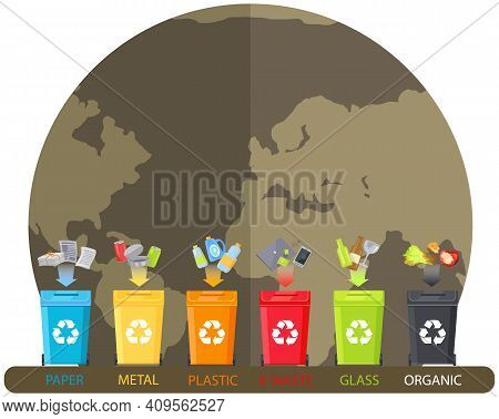 Containers For Unsorted Waste. Waste Sorting According To Material. Trash Cans With Plastic, Metal,