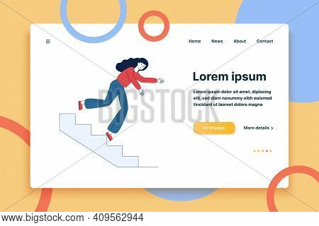 Young Woman Falling From Staircase. Cartoon Female Character Slipping On Steps Flat Vector Illustrat