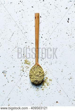 Organic protein-rich hemp seed powder. Super foods. Flat lay