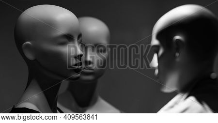 Mannequin Or Dummy Head. Group Mannequin Or Dummy Imitating People. Human Concept. Group Of Technolo