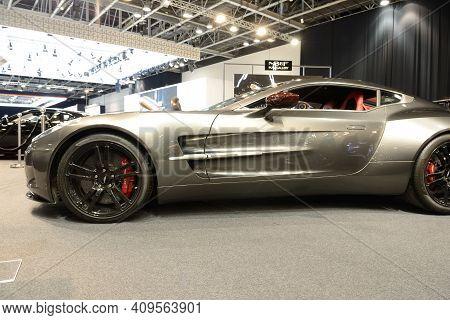 Dubai, Uae - November 16: The Aston Martin One-77 Sports Car Is On Dubai Motor Show 2019  On Novembe