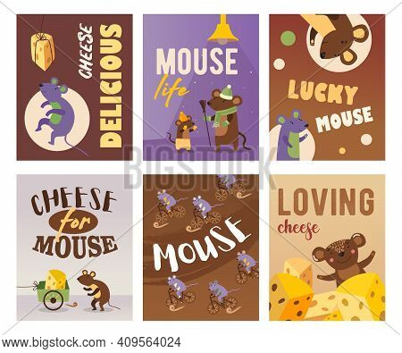Bright Greeting Card Designs With Happy Mice. Colored Mouse With Cheese, Mice Cycling And Standing.