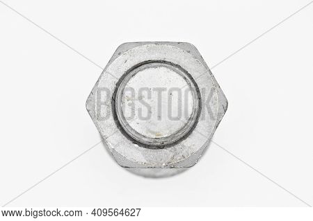 Galvanized Steel Metal With Metric Bolt And Nut, Isolated On White Background