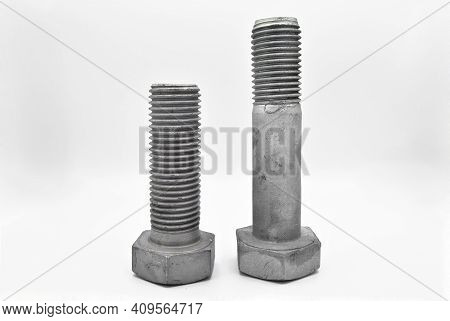 Galvanized Steel Metal With Metric Bolt, Isolated On White Background