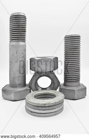 Galvanized Steel Metal With Metric Bolt Nut And Washer, Isolated On White Background