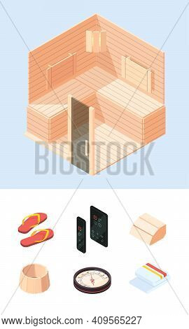 Relaxing Wooden Sauna. Isometric Spa Interior And Accessories For Sauna Therapy Towel Steam Hot Ston