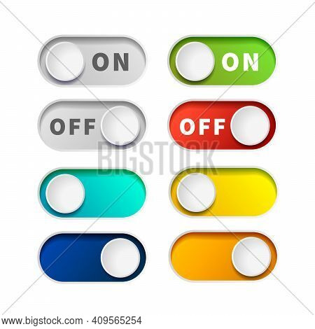 On And Off Realistic Toggle Switch Buttons On White