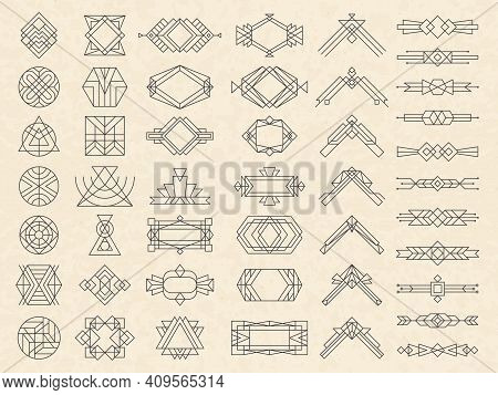 Art Deco Geometrical Shapes. Modern Design Elements For Emblems And Logotypes Triangles Circles Divi
