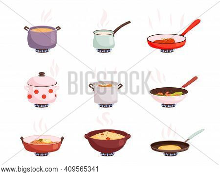 Cooking Stove. Boiling Processes Kitchen Utensils For Well Food On Pan Nowaday Vector Product Prepar
