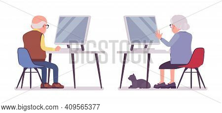 Old People With Computer, Elderly Man, Woman Pc Working. Senior Citizens, Retired Grandparents, Old-