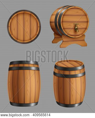 Wooden Barrels. Containers For Alcohol Liquids Beer Or Old Wine Cork Barrels With Steel Circles Dece