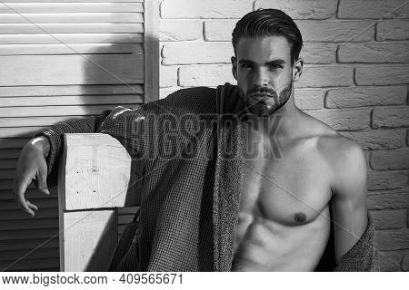 Man With Sexy Body. Bare Torso. Mans Health, Bodycare And Hygiene