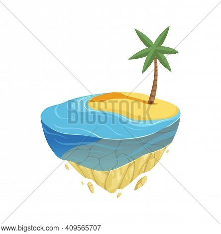 Beach Island. Isometric Summer Location, Game Design. Ocean Or Sea Coast, Water Sand And Palm Tree V