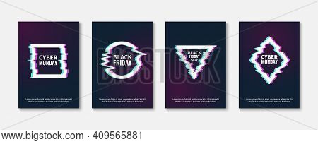 Glitch Effects. Abstract Trendy Frame Posters, Glitched Designs Concept, Dynamic Damaged Geometric S