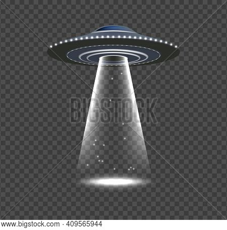 Ufo Invasion. Alien Spaceship, Realistic Space Object With Rays. Flying Ship, Lights And Glow Vector