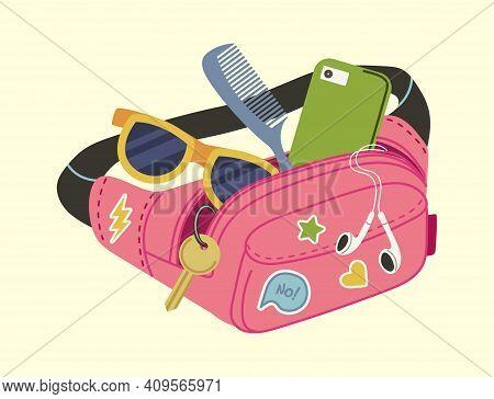 Woman Pouch. Waist Bag, Cartoon Trendy Accessory With Sunglasses, Headphones And Key. Teens Handbag