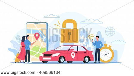Car Sharing. Automobile Rental Service Concept. Smartphone Application For Gps Navigation And Reliab