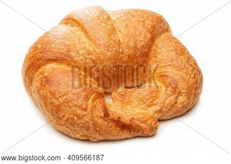 Crusty Croissant Isolated Against White Background - Close Up